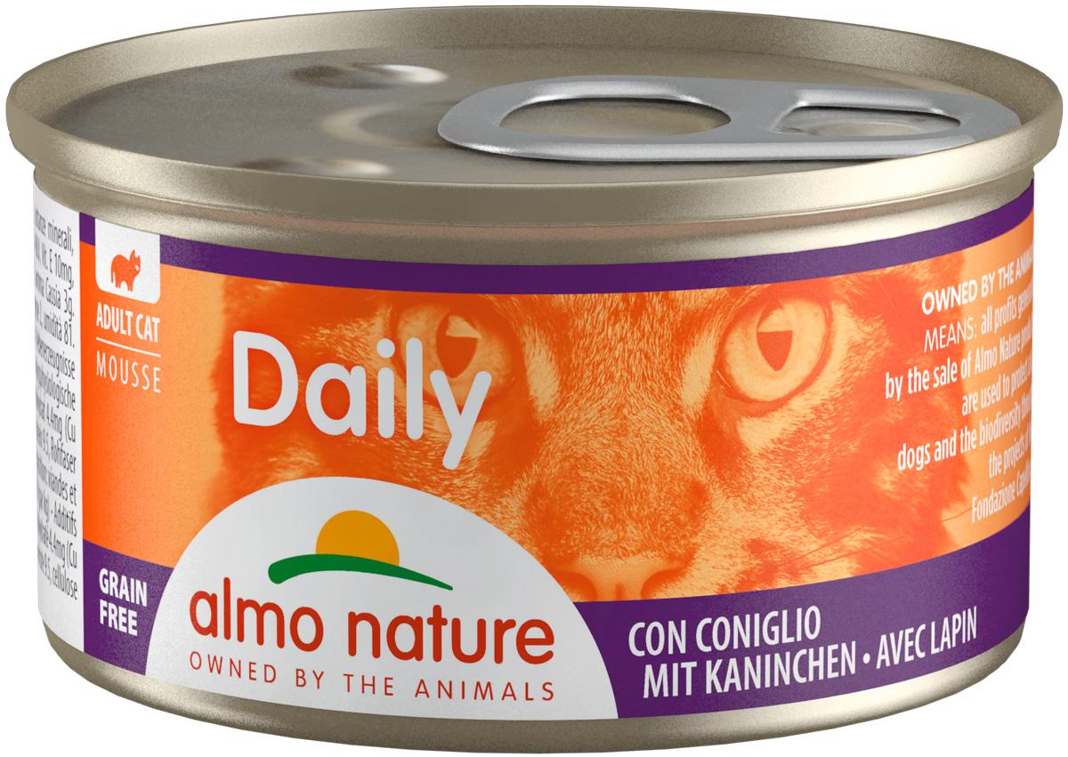 Almo Nature Cat Daily Menu для взрослых кошек нежный мусс с кроликом 85 гр (85 гр)