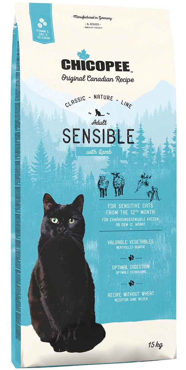 Chicopee Classic Nature Line Cat Adult Sensible для взрослых кошек с чувствительным пищеварением с ягненком (1,5 кг)