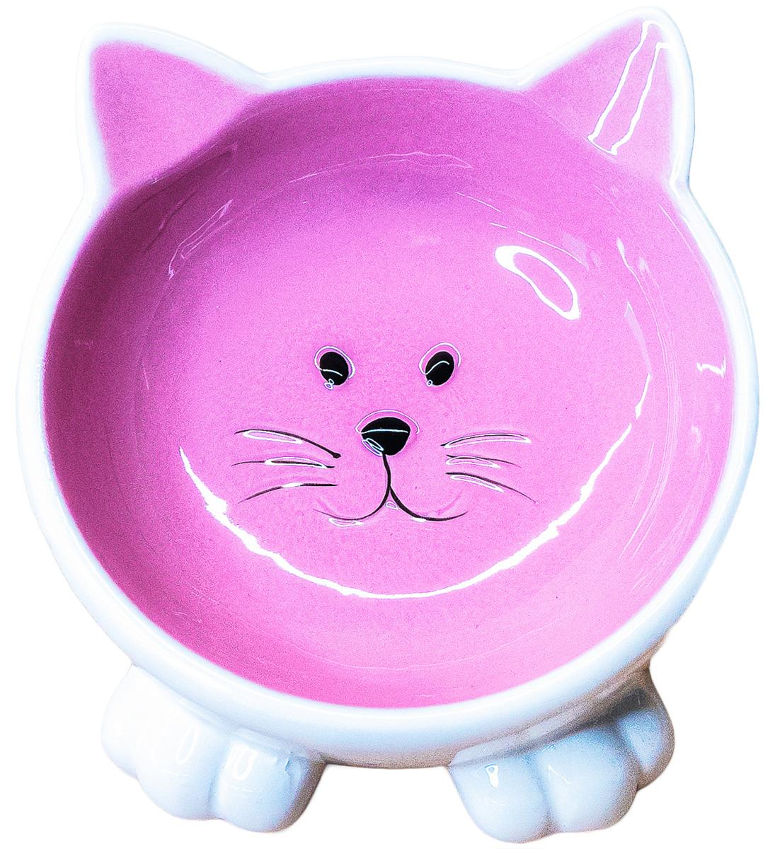 Керамическая миска для кошек КерамикАрт Мордочка кошки на ножках розовая 100 мл (100 мл) 0 pr на 100