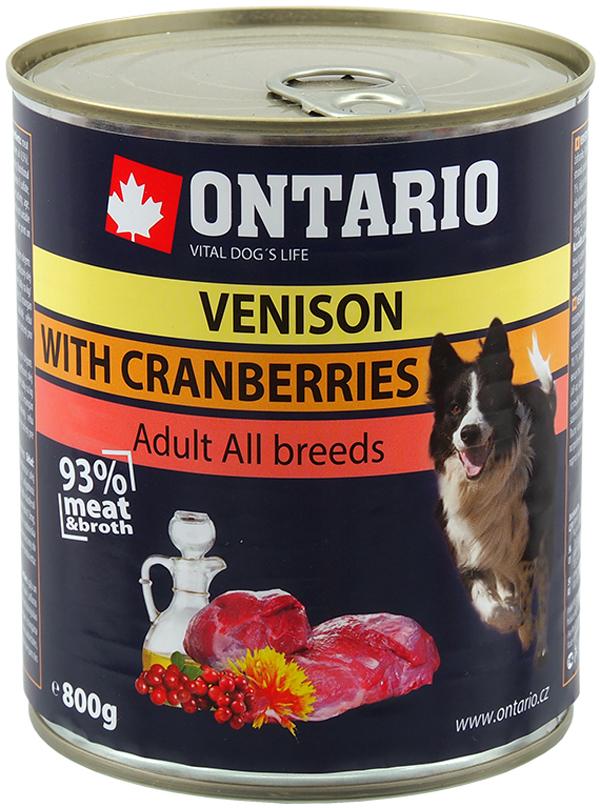 Ontario для взрослых собак с олениной и клюквой  (800 гр х 6 шт)