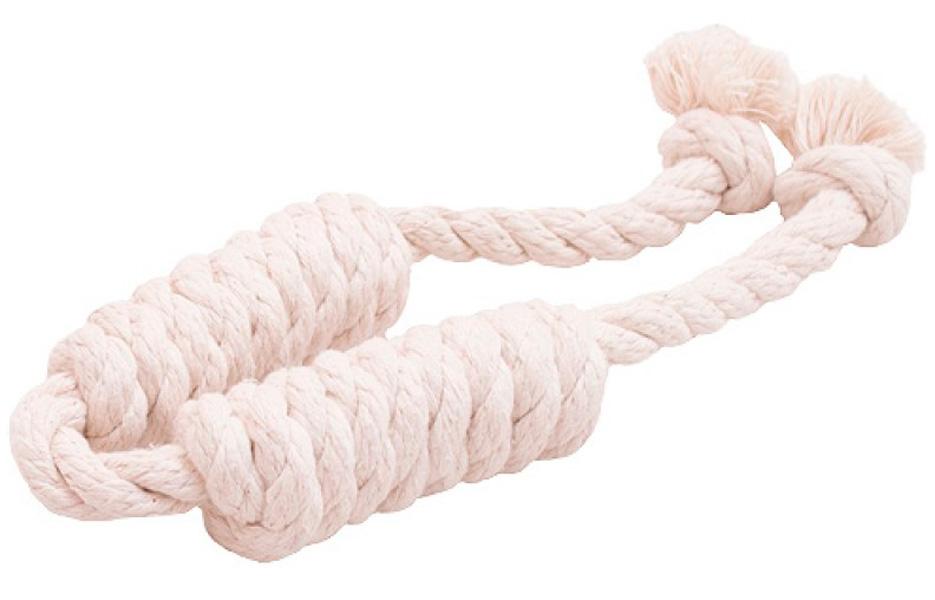 Игрушка для собак Doglike Dental Knot Сарделька канатная двойная белая средняя (1 шт)