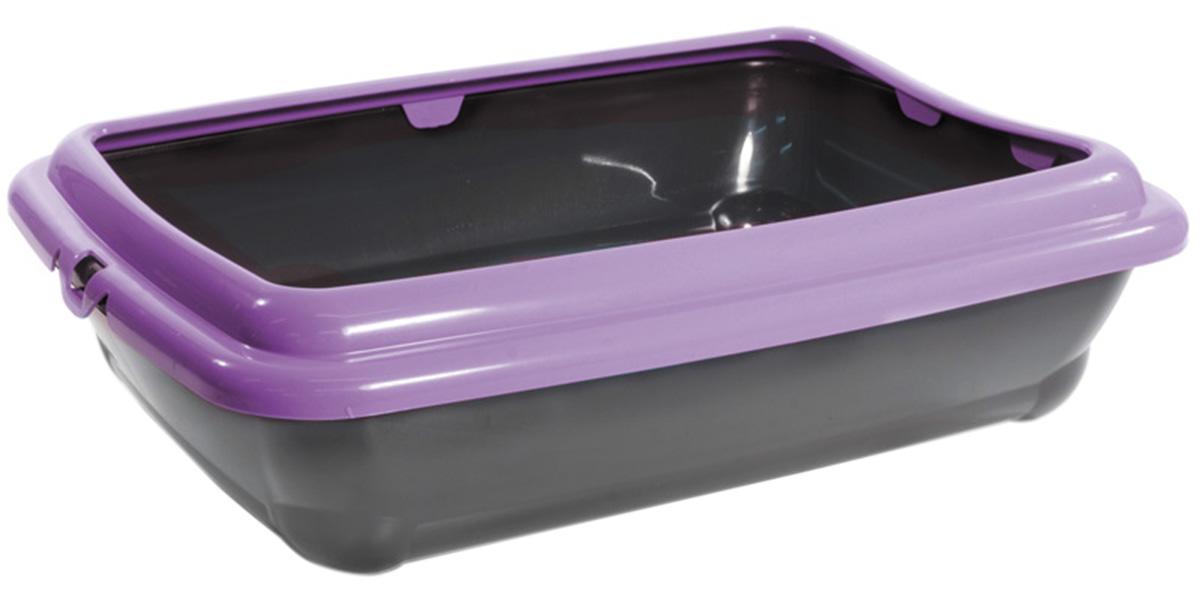 Gamma Штиль туалет для кошек прямоугольный с бортом 45,5 х 35 х 12,5 см (1 шт) gamma барсик туалет для кошек с сеткой мини 32 5 х 23 5 х 6 см 1 шт