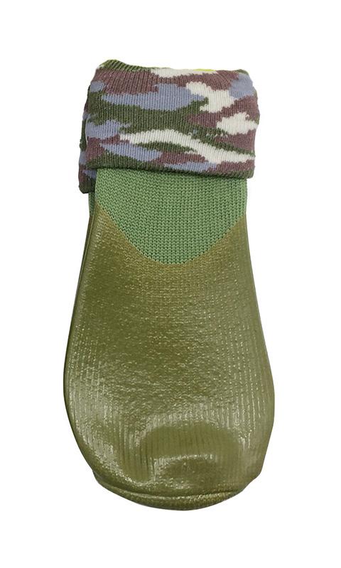 Носки для прогулки с высоким латексным покрытием с фиксатором Барбоски зеленые (1)