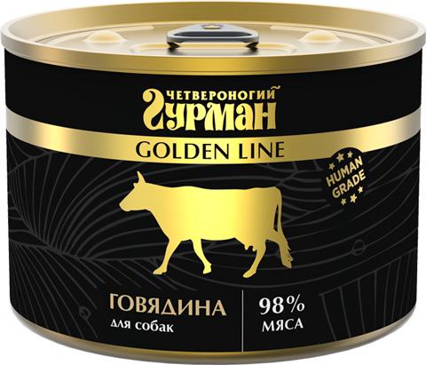 четвероногий гурман Golden Line для взрослых собак с говядиной натуральной в желе (340 гр)