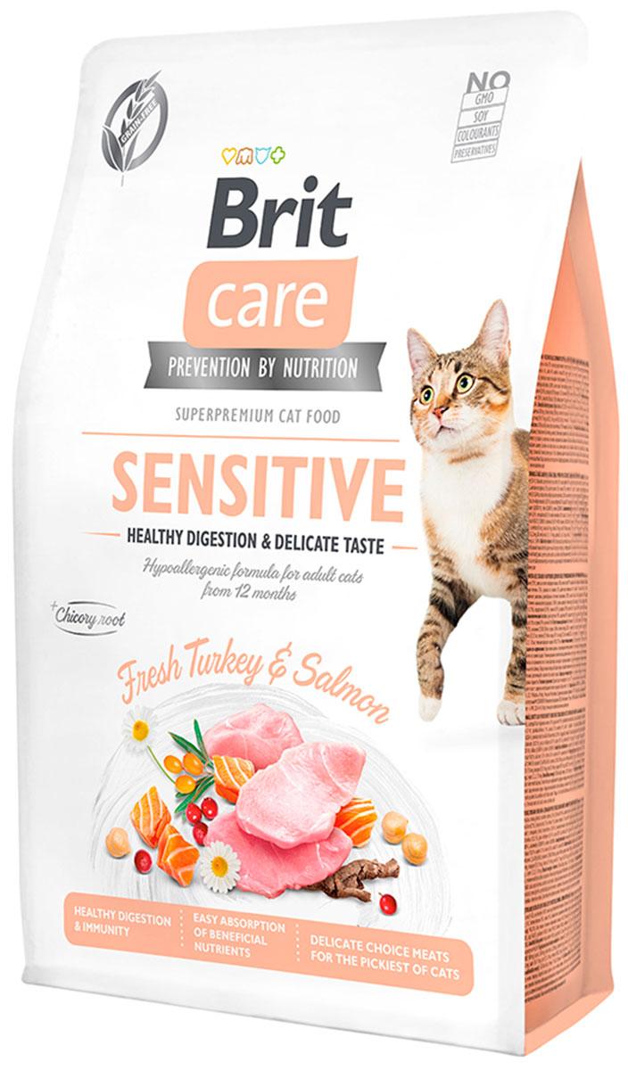 Brit Care Cat Grain-free Sensitive Healthy Digestion & Delicate Taste беззерновой для взрослых кошек с чувствительным пищеварением с индейкой и лососем (2 + 2 кг)