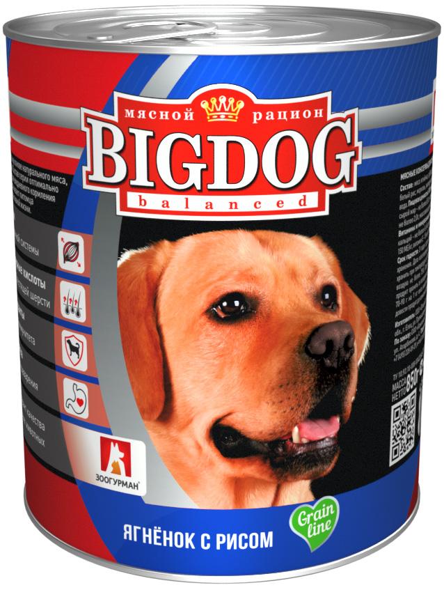 зоогурман Big Dog для взрослых собак с ягненком и рисом 850 гр (850 гр)