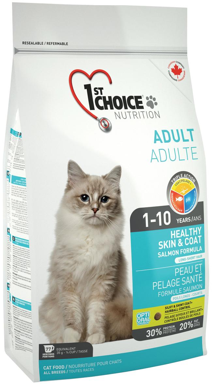 1st Choice Cat Adult Healthy Skin & Coat для взрослых кошек при аллергии с лососем (5,44 кг)