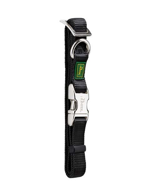 Ошейник для собак нейлон с металлической застежкой черный 30 – 45 см Hunter ALU-Strong (1 шт)