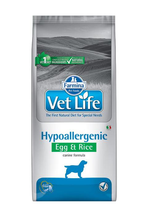Farmina Vet Life Canin Hypoallergenic для взрослых собак при пищевой аллергии, непереносимости с яйцом и рисом (12 + 12 кг)