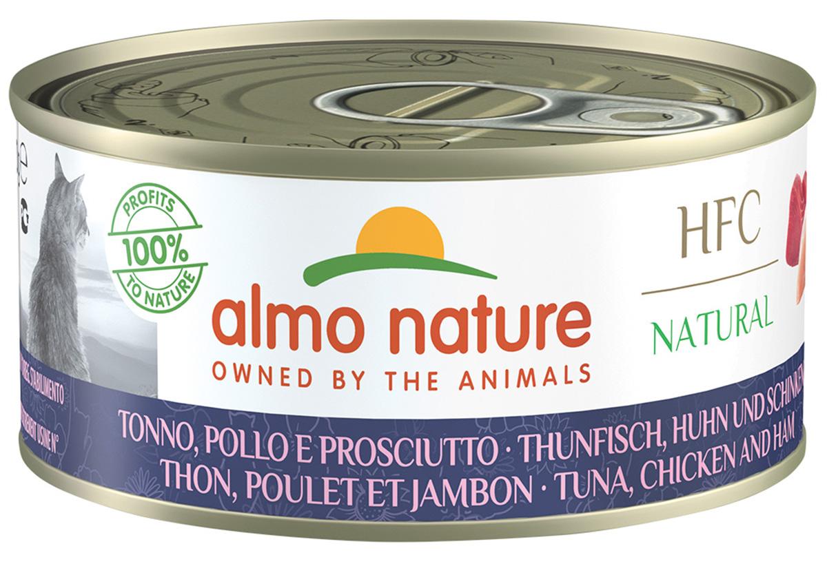 Almo Nature Cat Hfc Natural беззерновые для взрослых кошек с курицей тунцом и ветчиной (150 гр х 24 шт).