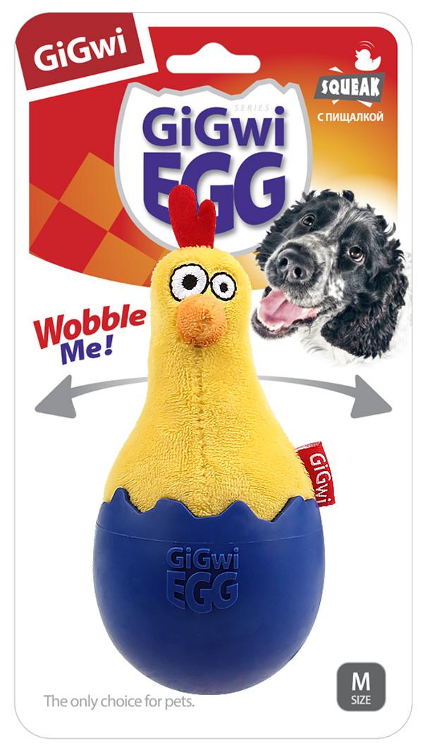 Игрушка для собак GiGwi Egg Цыпленок неваляшка с пищалкой 14 см (1 шт)