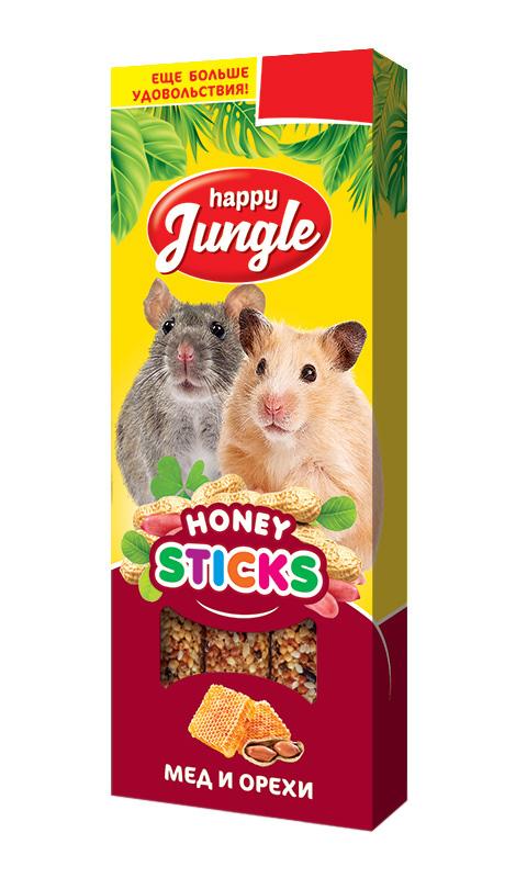 Happy Jungle палочки для мелких грызунов мед и орехи (3 шт)