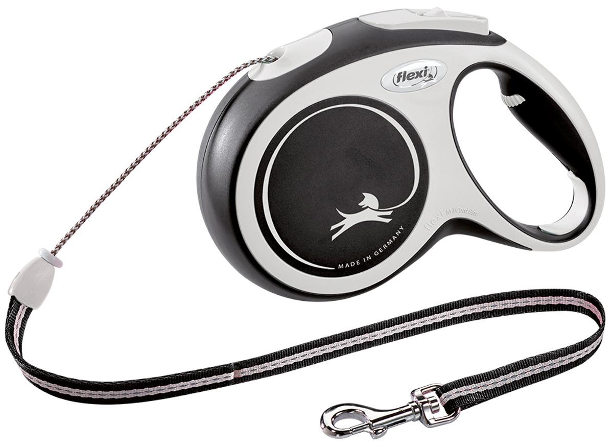 Flexi New Comfort Cord тросовый поводок рулетка для животных 8 м размер M черный (1 шт)