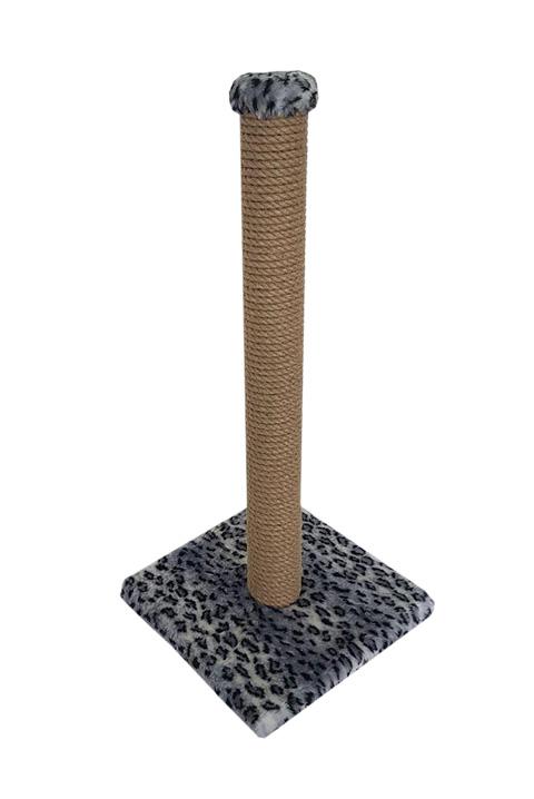 Когтеточка Столбик 50 см Пушок джут мех серый леопард (1 шт)