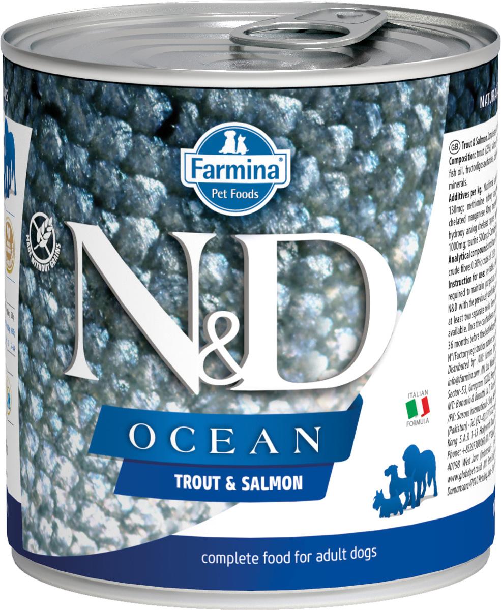 Farmina Dog N&d Ocean Adult Trout & Salmon беззерновые для взрослых собак всех пород с форелью и лососем 285 гр (285 гр х 6 шт)
