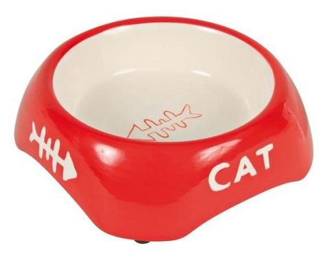 Trixie керамическая миска для кошек с рисунком «рыбья кость» (0,2 л)