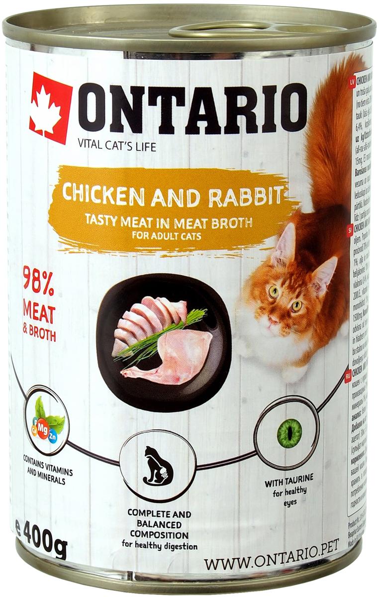 Ontario для взрослых кошек с курицей и кроликом 400 гр (400 гр)