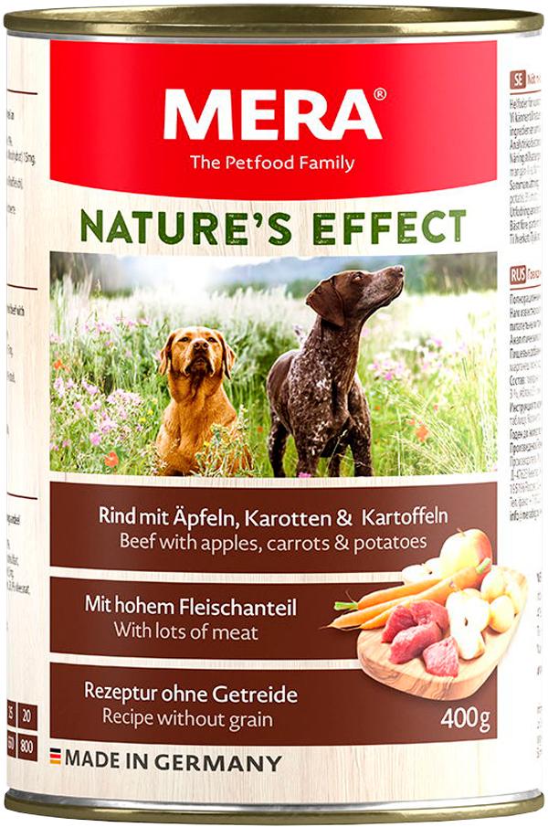 Mera Nature's Effect Dog Rind, Apfeln, Karotten & Kartoffeln беззерновые для взрослых собак всех пород с говядиной, яблоками, морковью и картофелем  (200 гр)