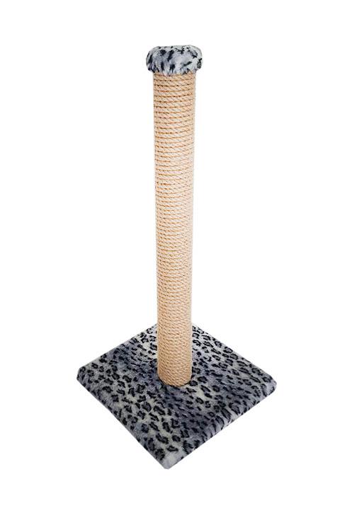 Когтеточка Столбик толстый 65 см Пушок сизаль мех серый леопард (1 шт)