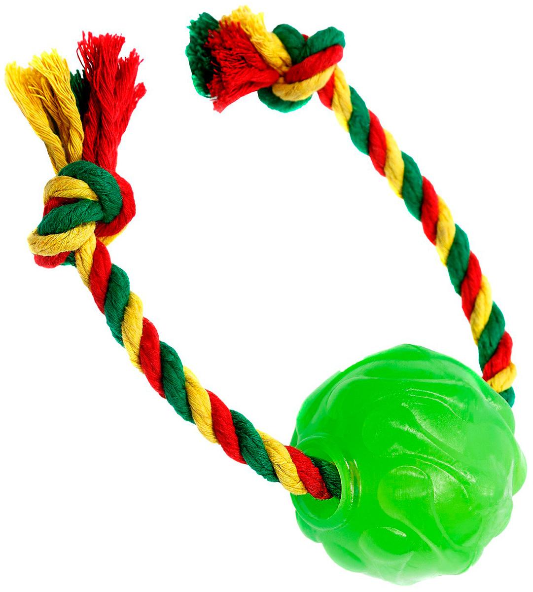 Мяч с канатом для собак Doglike Космос зеленый (1 шт)