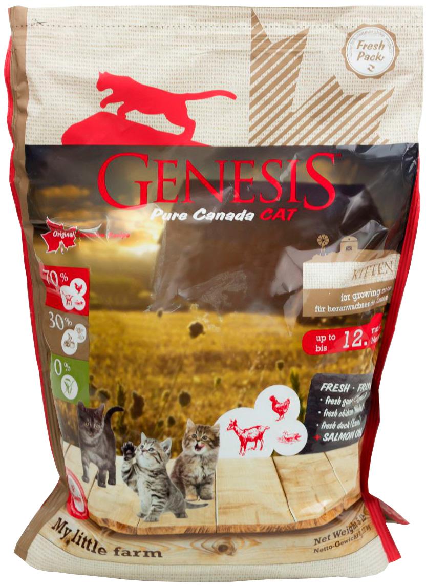 Genesis Pure Canada My Little Farm Kitten беззерновой для котят, беременных и кормящих кошек с курицей, козой и уткой (2,268 кг)
