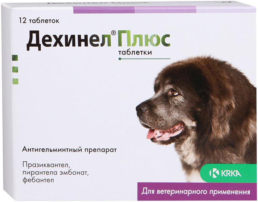 дехинел плюс – антигельминтик для взрослых собак крупных пород со вкусом мяса (уп. 12 таблеток) (1 шт)