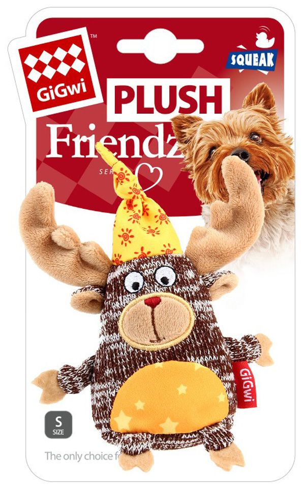 Игрушка для собак GiGwi Plush Friendz Лось с пищалкой 10 см (1 шт)