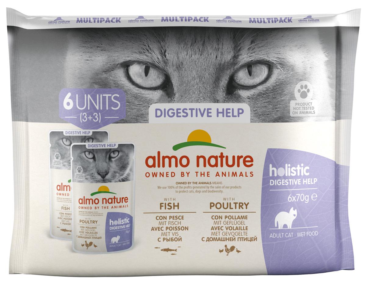 Almo Nature Cat Daily Functional Multipac Sensitive набор паучей для взрослых кошек с рыбой и курицей 6 шт х 70 гр (1 шт).