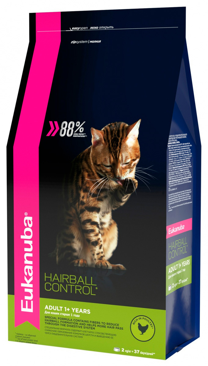 Eukanuba Adult Hairball Control Rich In Poultry для взрослых кошек вывода шерсти с птицей (0,4 кг)
