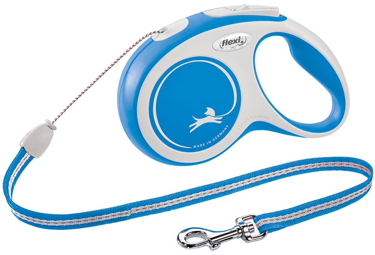 Фото - Flexi New Comfort Cord тросовый поводок рулетка для животных 8 м размер S синий (1 шт) flexi new comfort tape ременной поводок рулетка для животных 5 м размер s синий 1 шт