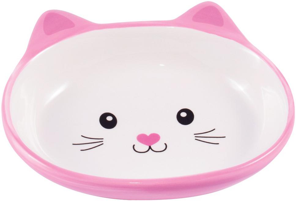 Керамическая миска блюдце КерамикАрт Мордочка кошки розовая (0,16 л)