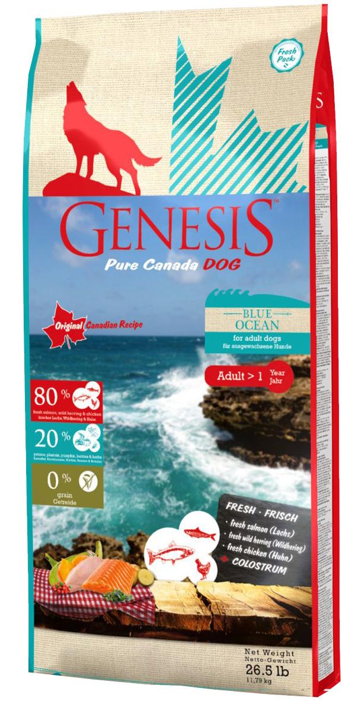 Фото - Genesis Pure Canada Blue Ocean Adult беззерновой для взрослых собак всех пород с лососем, сельдью и курицей (11,79 кг) genesis genesis pure canada deep canyon adult для взрослых собак всех пород с курицей ягненком и козой 907 г