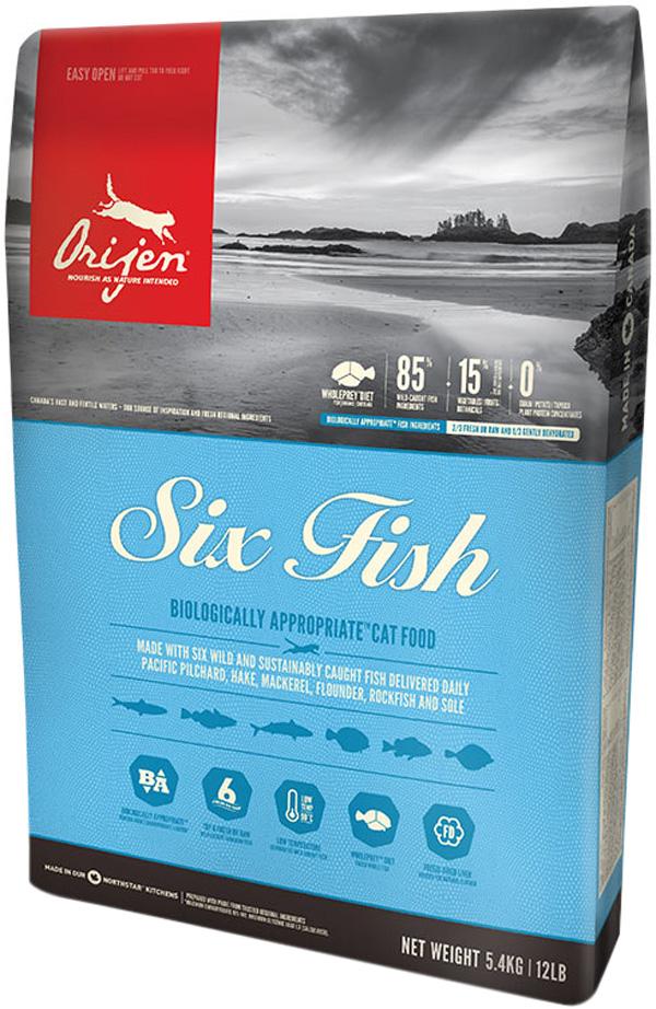 Orijen Cat 6 Fish 85/15 для кошек и котят всех пород с рыбой (18 кг).