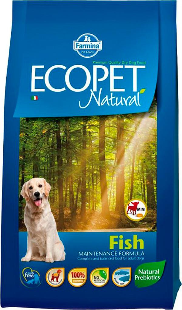 Ecopet Natural Adult Mini Fish для взрослых собак маленьких пород с рыбой (12 кг)