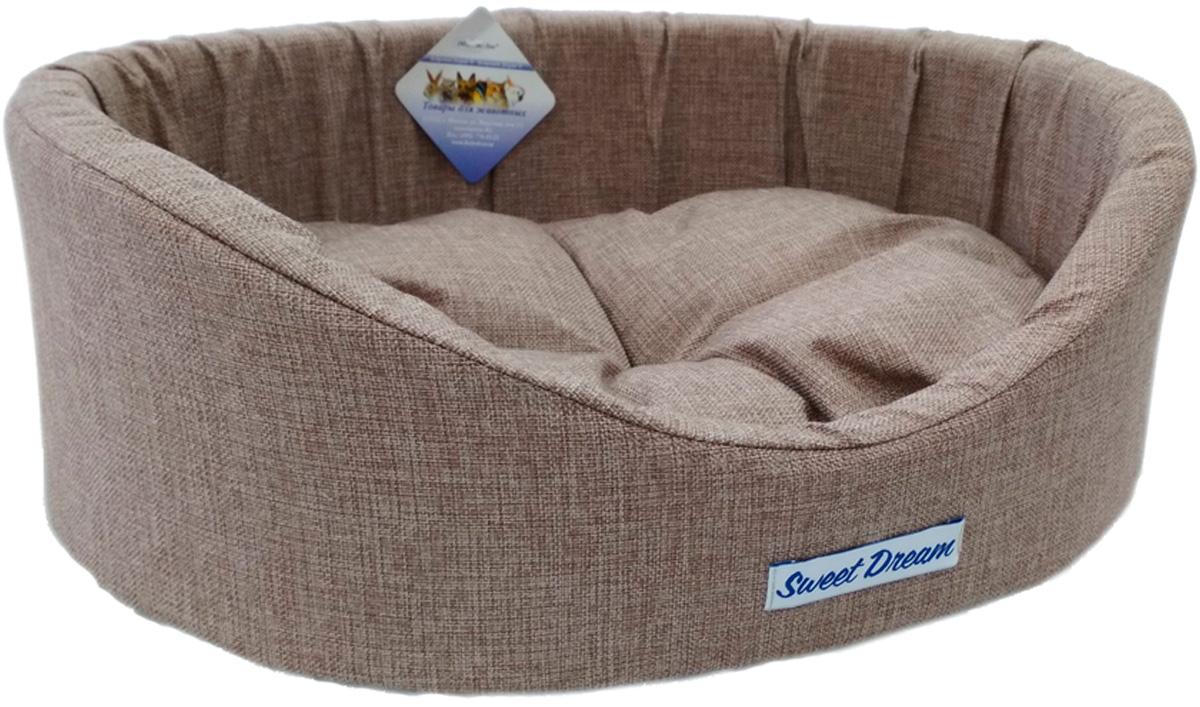 Лежак для животных с бортиком Сладкий сон Рогожка № 3 бежевый 1 55 х 43 х 16 см (1 шт)