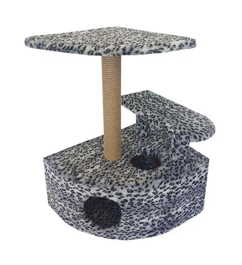 Домик Угловой со ступенькой Пушок мех серый леопард (1 шт)