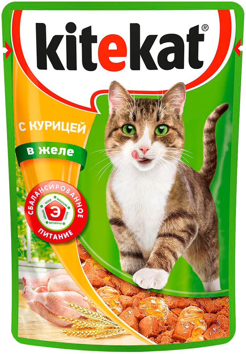 Kitekat для взрослых кошек с курицей в желе 85 гр (85 гр х 28 шт) фото