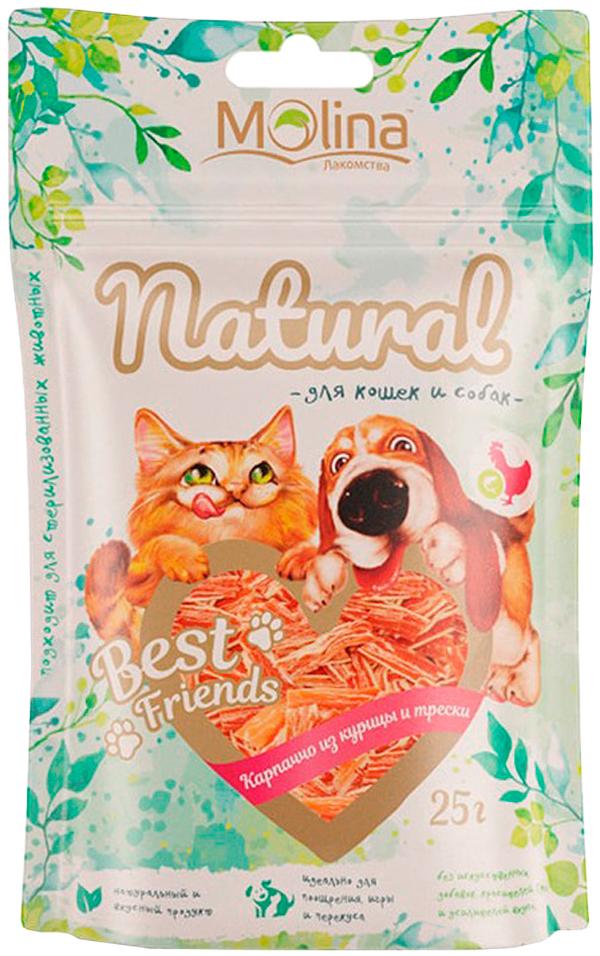 Лакомство Molina Natural Best Friends для собак и кошек карпаччо из курицы и трески 25 гр (1 шт)