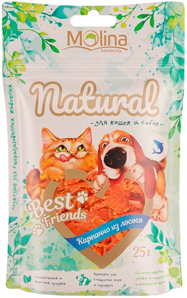 Лакомство Molina Natural Best Friends для собак и кошек карпаччо из лосося 25 гр (1 шт)