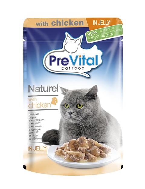 Prevital Naturel для взрослых кошек с курицей в желе (85 гр х 28 шт)