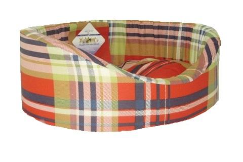 Лежак для собак с бортиком № 5, шотландка красная, 71 х 53 х 20 см (1 шт) фото