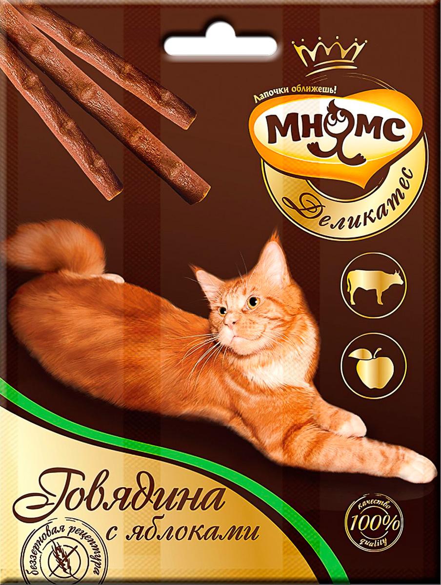 Лакомство мнямс деликатес для кошек палочки с говядиной и яблоками (1 шт)