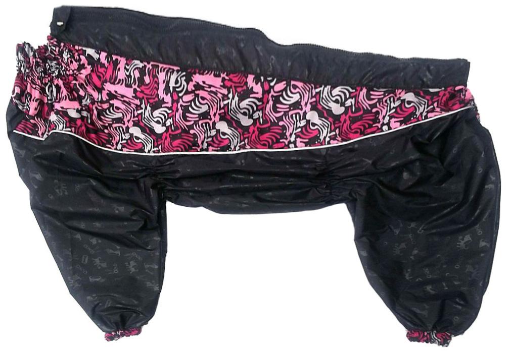 Osso Fashion дождевик для такс и вельш-корги черный со вставками для девочек (50т-3)