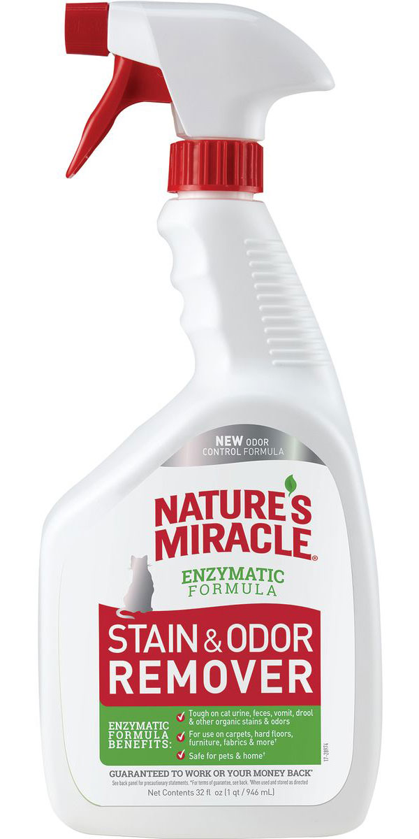 8 in 1 Nature's Miracle Remover Spray спрей уничтожитель пятен и запахов для кошек (945 мл) спрей nature s miracle уничтожитель пятен и запахов no more marking против повторных меток 709 мл