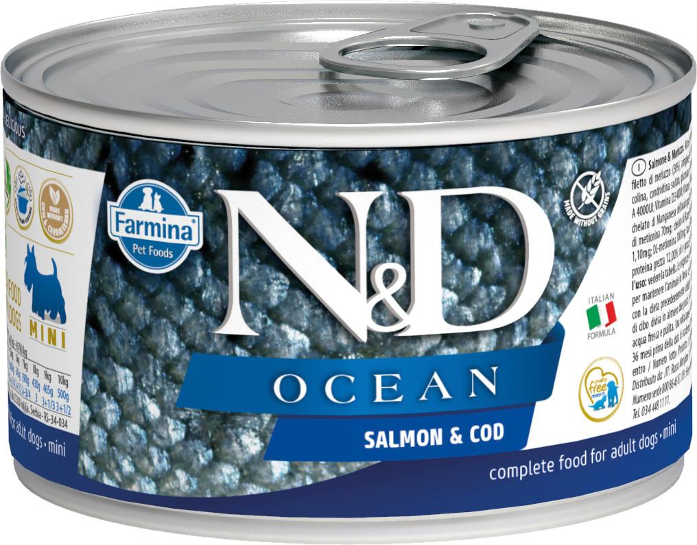 Farmina Dog N&d Ocean Adult Mini Salmon & Cod беззерновые для взрослых собак маленьких пород с лососем и треской 140 гр (140 гр х 6 шт)