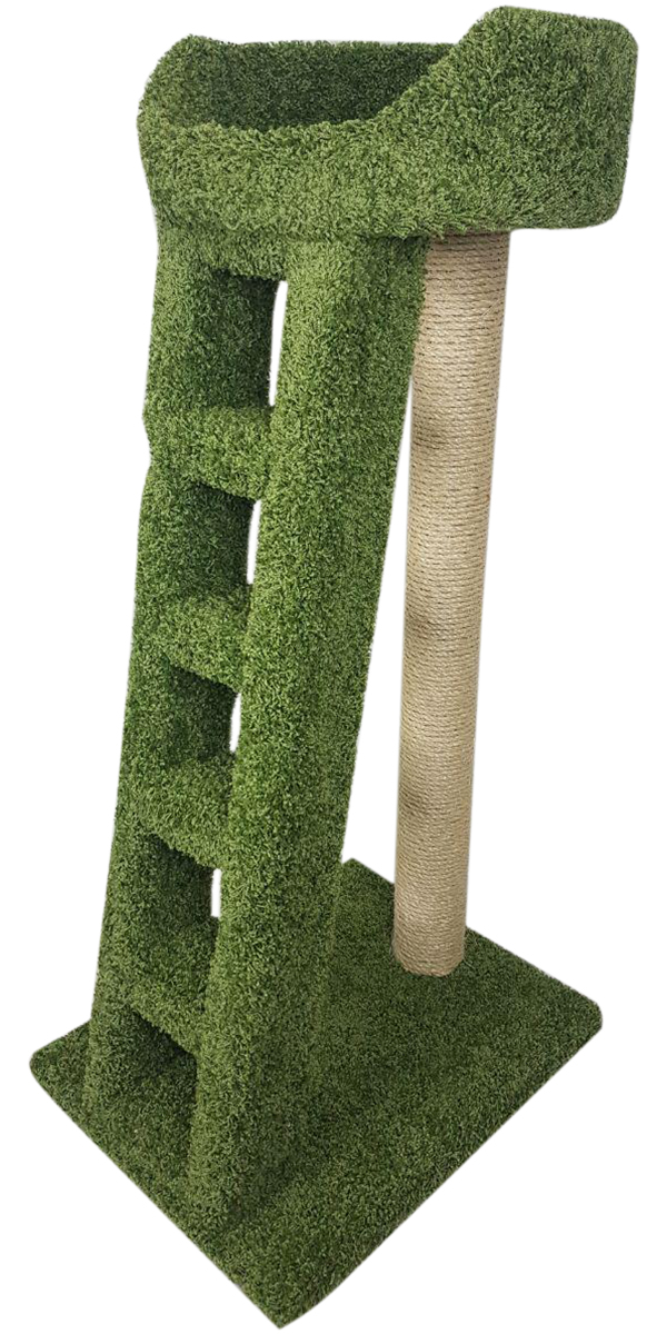 Когтеточка Лежанка с лестницей Пушок ковролин зеленая (1 шт)