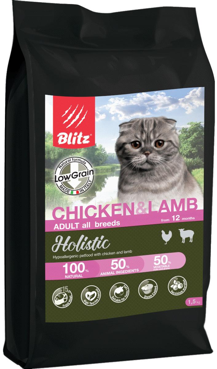 Blitz Holistic Low-grain Adult Cat Chicken & Lamb низкозерновой для взрослых кошек всех пород с курицей и ягненком (5 + 5 кг)