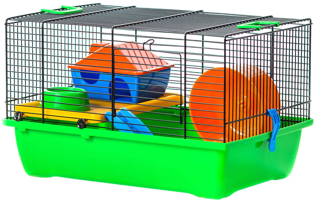 Клетка для грызунов Inter-Zoo G034 Gino Colour + Plastic с пластиковыми цветными аксессуарами 42 х 29 х 26 см (1 шт) фото