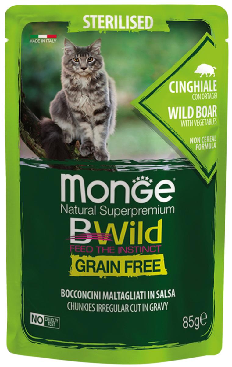 Monge Cat Bwild Grain Free Sterilised беззерновые взрослых кастрированных котов и стерилизованных кошек с мясом дикого кабана и овощами в соусе (85 гр х 28 шт)