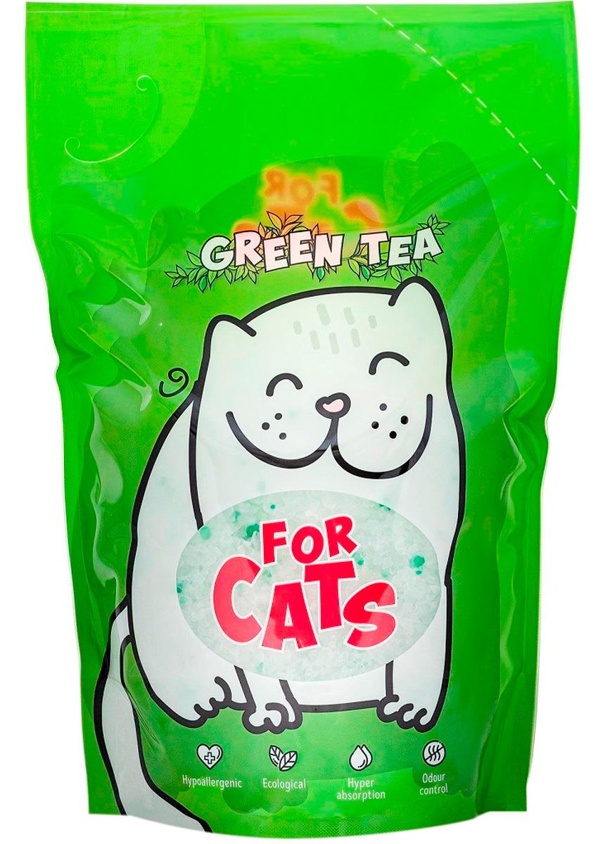 For Cats наполнитель силикагелевый для туалета кошек с ароматом зеленого чая (4 л) for cats наполнитель силикагелевый для туалета кошек с ароматом зеленого чая 8 л